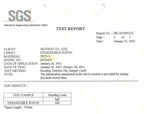 SGS試験データ